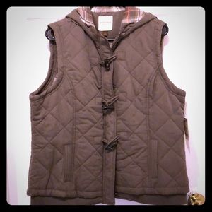 NWT - Brown Sonoma puffer Vest (with hood!)